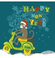 Happy New Year with cute monkey on vector image