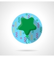 Green star balloon flat color round icon vector image