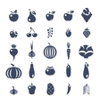 Farm fruits and vegetables flat silhouette vector image