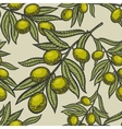 Olive branch engraving style seamless vector image