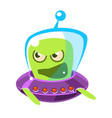 an angry and screaming green alien cute cartoon vector image