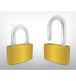 Locked and Unlocked Metal Padlocks vector image