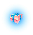 pink present box with red hearts and blue ribbon vector image