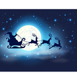 Santa Claus deers and full Moon vector image
