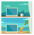 two different workplace in office and on tropical vector image