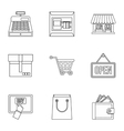 Shopping icons set outline style vector image