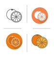 Orange flat design linear and color icons set vector image