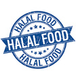 halal food grunge retro blue isolated ribbon stamp vector image