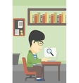 Businessman working on his laptop vector image vector image