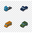 isometric transport set of armored truck autobus vector image