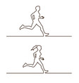 line silhouettes of runners vector image