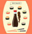 soy sauce bottle with sushi set and chopsticks vector image