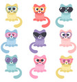 set of colorful cats isolated on white background vector image vector image