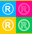 registered trademark sign four styles of icon on vector image