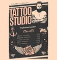 vintage tattoo studio poster vector image
