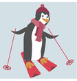 Funny penguin is skiing vector image