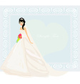 Beautiful bride with red roses card vector image