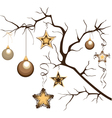 branch with balloons and stars vector image