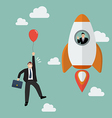 Businessman on a rocket fly pass Businessman with vector image
