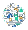 Mother and daughter at the kitchen - line design vector image
