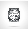 Fitness watch black line icon vector image
