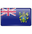 Flags Pitcairn Islands in the form of a magnet on vector image