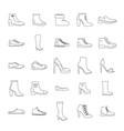 footwear shoes icon set outline style vector image