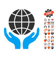 global hands icon with love bonus vector image
