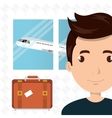 man suitcase airplane window vector image
