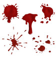 Realistic blood splatters and drops set vector image