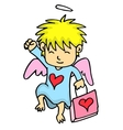 Cupid with bag cartoon collection vector image
