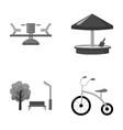 carousel sandbox park tricycle playground set vector image