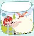 Border design with sheep on the farm vector image vector image