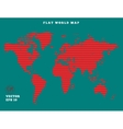 World map Striped red map silhouette on turquoise vector image