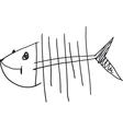 simple fish sceleton vector image vector image