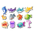 Sticker set of sharks and fish vector image