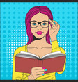 beautiful woman with book vector image