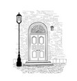 doorway background house entrance building facade vector image