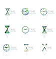 Geometric clock and time icon set vector image