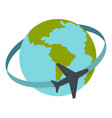 travelling by plane around the world icon isolated vector image
