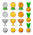 Soccer sport medals and awards set vector image