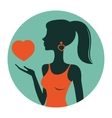 An of beautiful woman holding heart vector image vector image