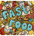 Seamless background with fast food symbols vector image