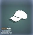 Baseball cap icon On the blue-green abstract vector image