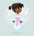 cute happy girl afro-american girl angel vector image