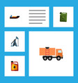 flat icon oil set of boat rig jerrycan and other vector image