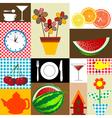 Kitchen table cloth design vector image