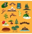 Nature landscape elements and buildings vector image