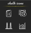 Oil industry chalk icons set vector image