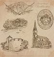Travel LIECHTENSTEIN - An hand drawn pack vector image